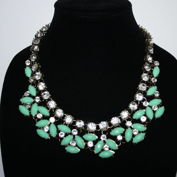 Bronze and teal rhinestone bib necklace adjustable